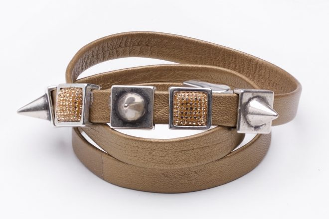 Abby Leather Cuff gold