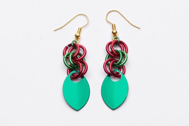 Dragon Tear Earrings red green